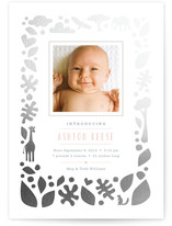 Petite Jungle Frame Foil-Pressed Birth Announcements
