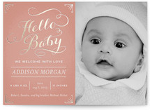 Chalkboard Greetings Foil-Pressed Birth Announcement Cards