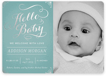 Chalkboard Greetings Foil-Pressed Birth Announcements