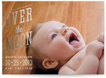 Over the Moon Foil-Pressed Birth Announcements