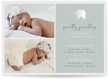 Petite Elefant Foil-Pressed Birth Announcement Cards