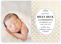 Golden Shell Foil-Pressed Birth Announcements