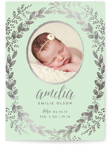 Gilded Garden Foil-Pressed Birth Announcement Cards