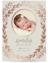 Gilded Garden Foil-Pressed Birth Announcements