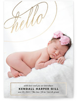 Fancy Hello Foil-Pressed Birth Announcements