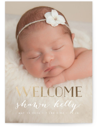 Gold Welcome Foil-Pressed Birth Announcement Cards