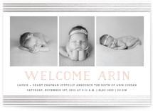 Trefoil Foil-Pressed Birth Announcement Cards