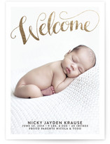 A Big Welcome Foil-Pressed Birth Announcement Cards