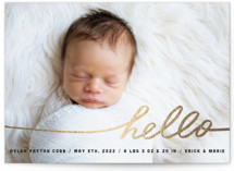 Stringed Hello Foil-Pressed Birth Announcement Cards