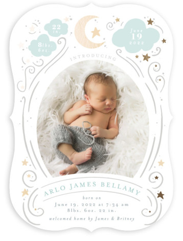 Starlight Foil-Pressed Birth Announcement Cards