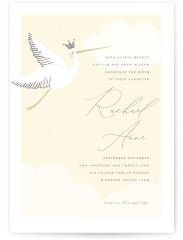 Head in the Clouds Foil-Pressed Birth Announcement Cards