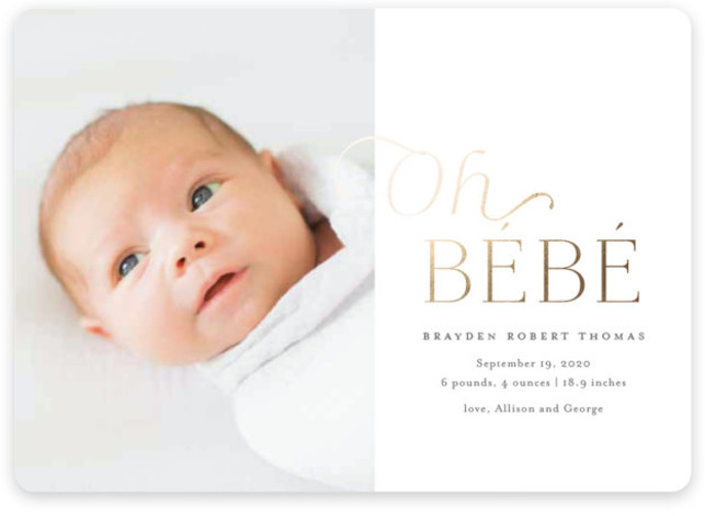 Bebe Foil-Pressed Birth Announcement Cards