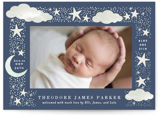 Nighttime Foil-Pressed Birth Announcement Cards