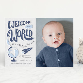 Blast Off Letterpress Birth Announcements