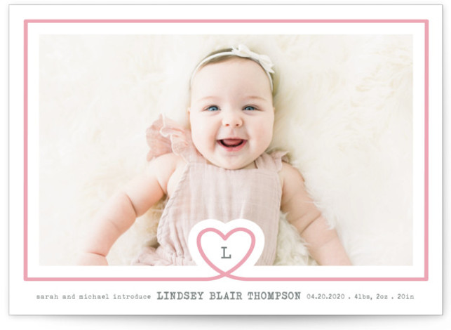 lil heart Letterpress Birth Announcements