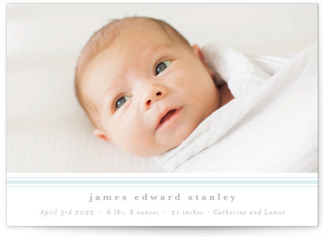 Simple Stripe Letterpress Birth Announcements