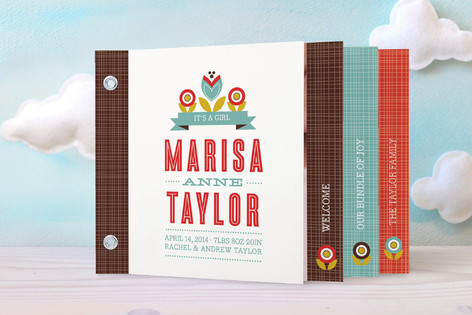 Mod Floral Birth Announcement Minibook™ Cards