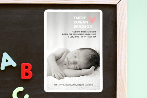 Simple Hearts Birth Announcement Magnets