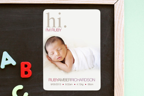 Subtle Ruby Birth Announcement Magnets