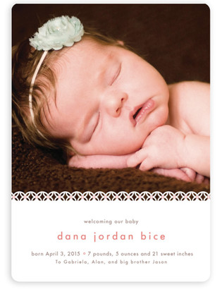 Sweet Lace Birth Announcement Magnets