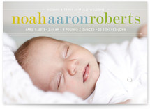 Classy Noah Birth Annoucement Postcards