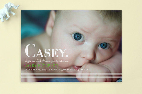 simply stripes Birth Announcement Postcards
