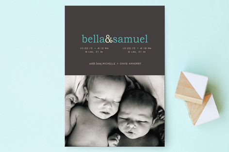 Pop of Color Birth Announcement Postcards