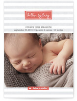 Striped Hello Birth Annoucement Postcards