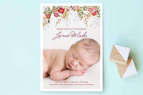 Fleurs De Noel Birth Announcement Postcards