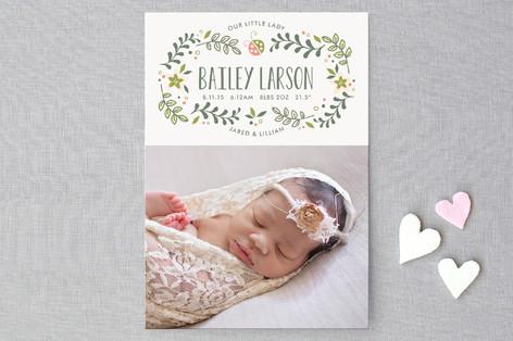 Sweet Little Ladybug Birth Announcement Postcards