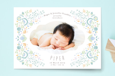 Fancy Floral Frame Birth Announcement Postcards