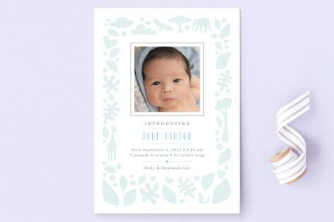 Petite Jungle Frame Birth Announcement Postcards