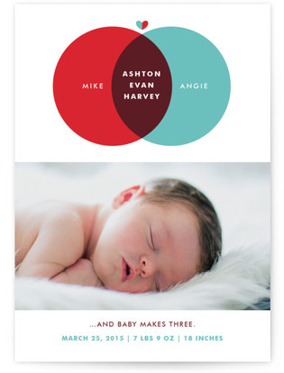 Baby Makes Three Birth Announcement Postcards