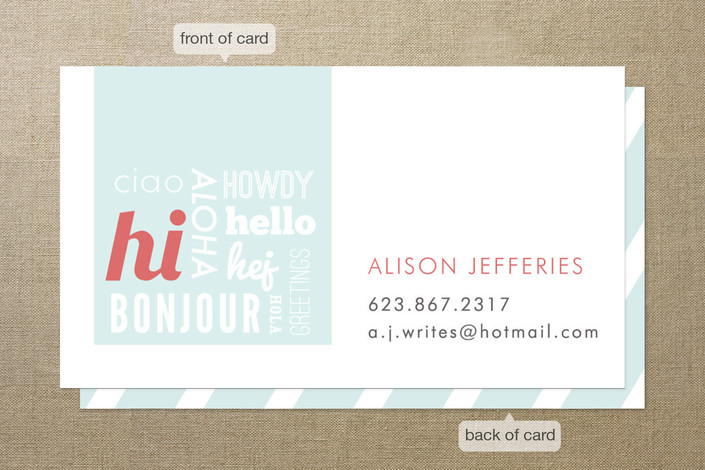 Hello Hello Hello Business Cards by Paper Rose