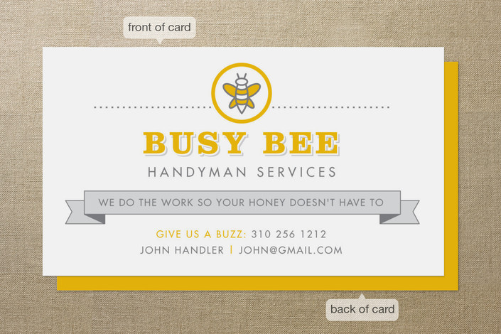 Busy Bee Business Cards by Smudge Design