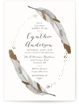 Dipped Feathers Foil-Pressed Baby Shower Invitations