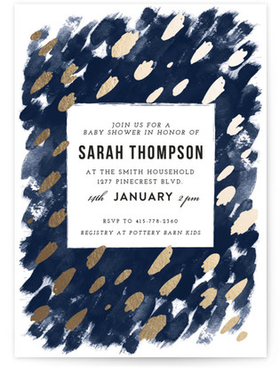 Midnight And Gold Foil-Pressed Baby Shower Invitations