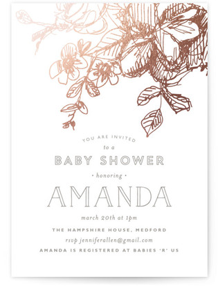 Elegance Illustrated Foil-Pressed Baby Shower Invitations