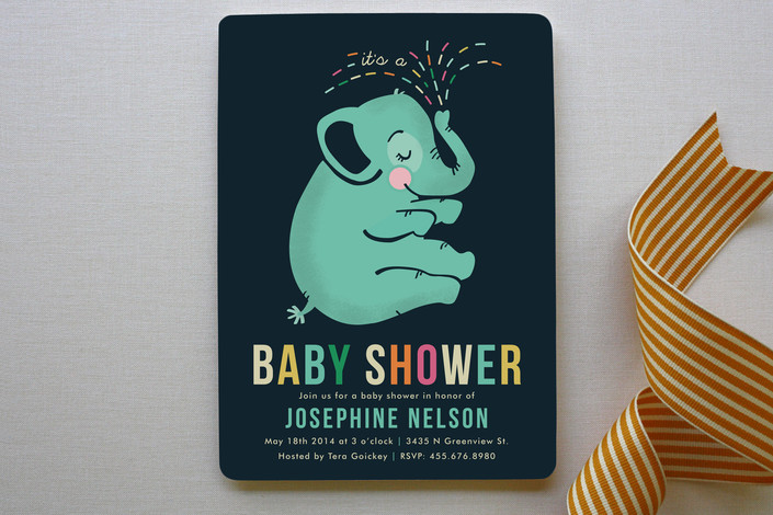 baby elephant baby shower invitations by pistols minted