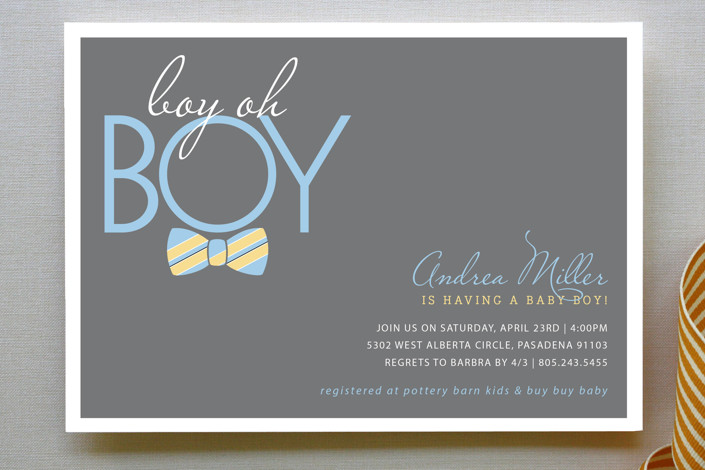 Bow Tie Boy Oh Boy Baby Shower Invitations by Beth Minted
