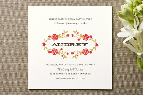 Floral Wreath Baby Shower Invitations
