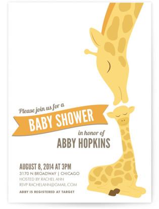 Lovely Giraffe Baby Shower Invitations