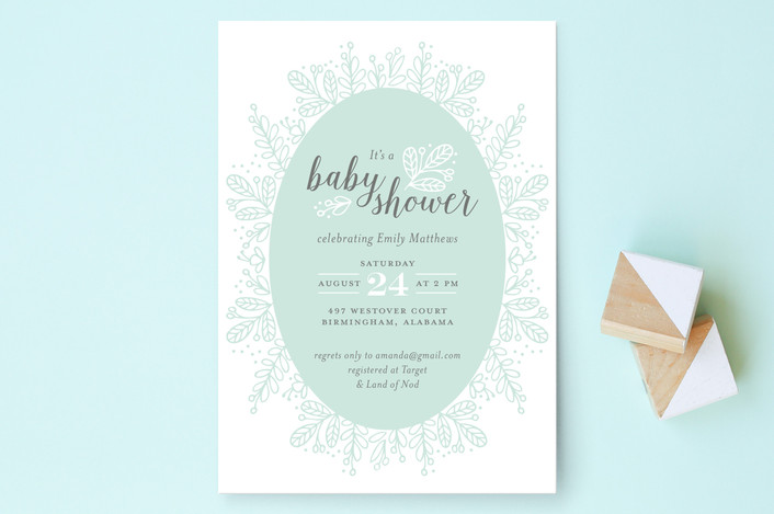 whimsical wreath baby shower invitations by jessic minted