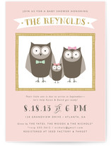 Owl Happy Family Baby Shower Invitations