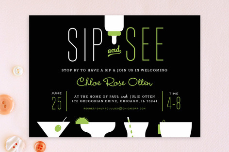 Mod Sips Baby Shower Invitations