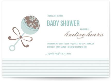 Elegant Rattle Baby Shower Invitations