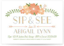Flowery Sip & See Baby Shower Invitations