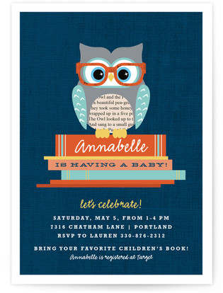 Bookworm Owl Baby Shower Invitations