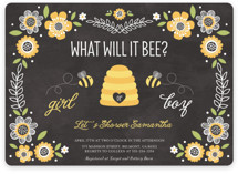 Floral Bee Baby Shower Invitations