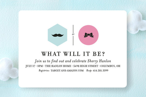 Mustache vs. Bow Baby Shower Invitations